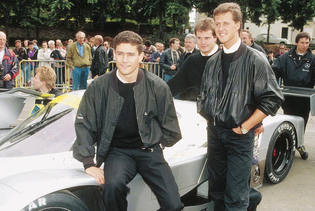 Aynı arabayı beraber kullandıktan seneler sonra Mercedes 3'lüsü pistlerde birbirlerine karşı da yarışacaklar. Fotoğraf 1991 LeMans'tan...