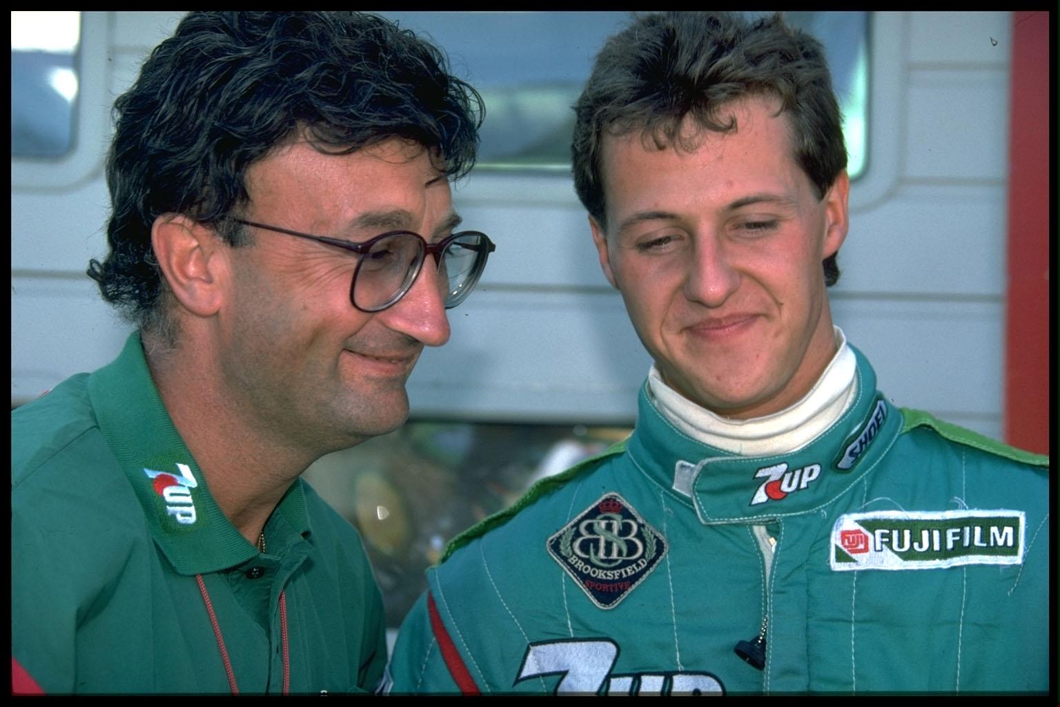 Taze patron Eddie Jordan ile Schumacher