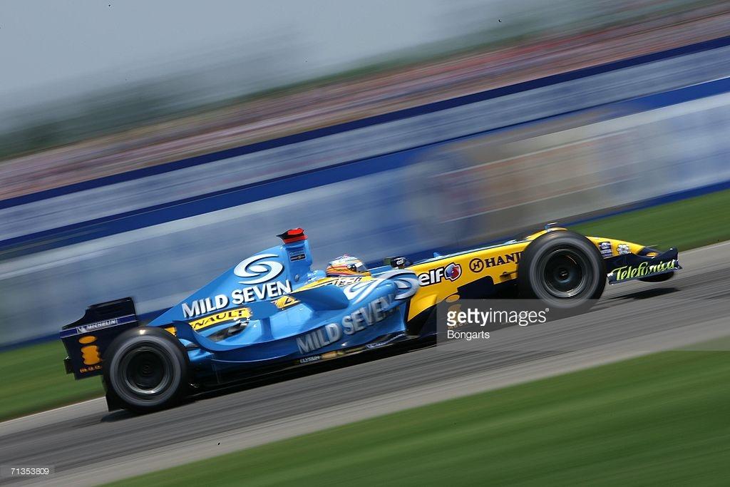 Alonso 2006 Amerika GP'sinde, Mild Seven sponsorluğunda.